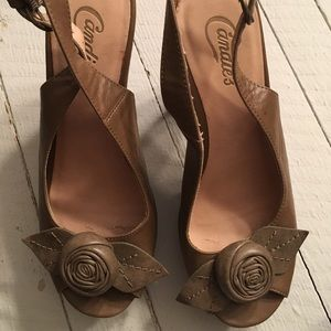 Candies peep toe heels with flower accent. Size 8.